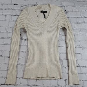 Gold Metallic Sparkle Ribbed Sweater